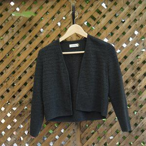 NWOT Charcoal Cropped Open-Front Cardigan